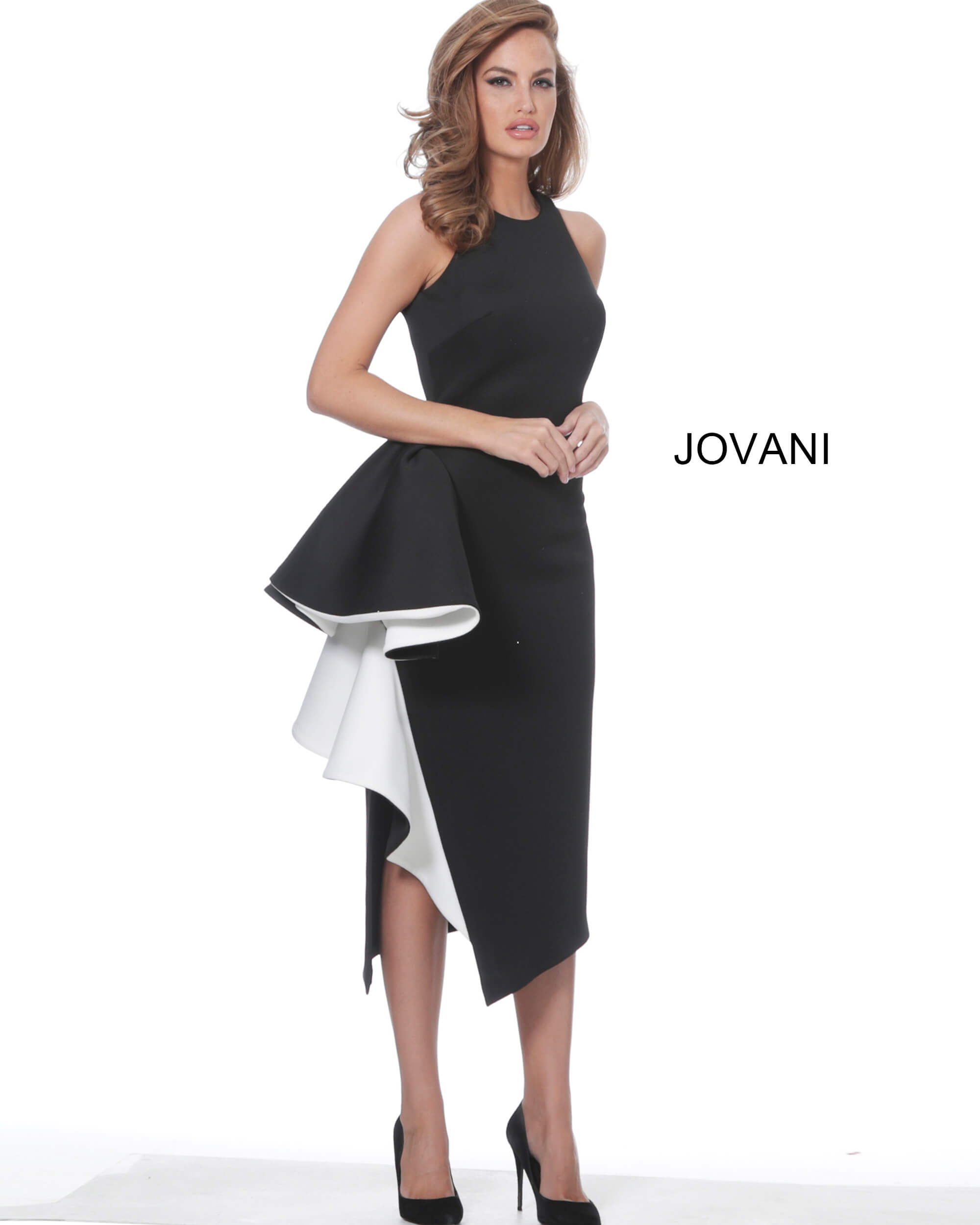 jovani Jovani 00572 Black and White Elegant Fitted Cocktail Dress
