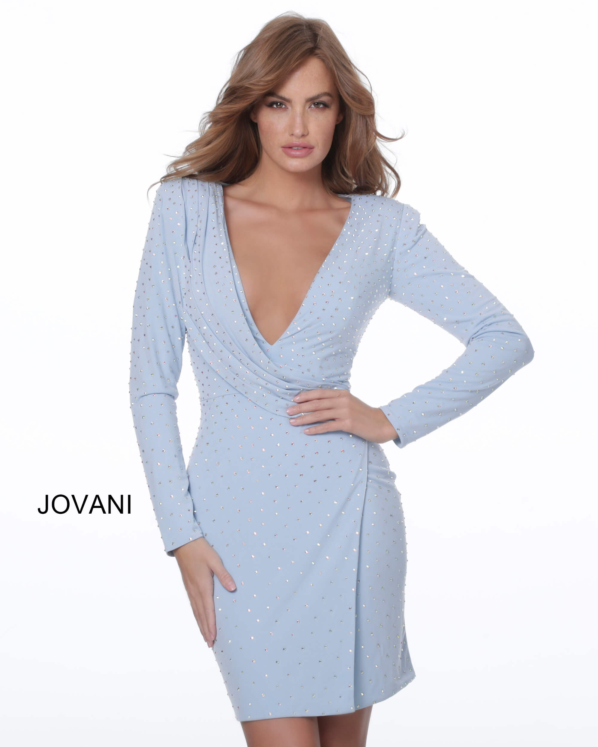 Jovani 04015 Light Blue Long Sleeve Draped Cocktail Dress on mobile 0
