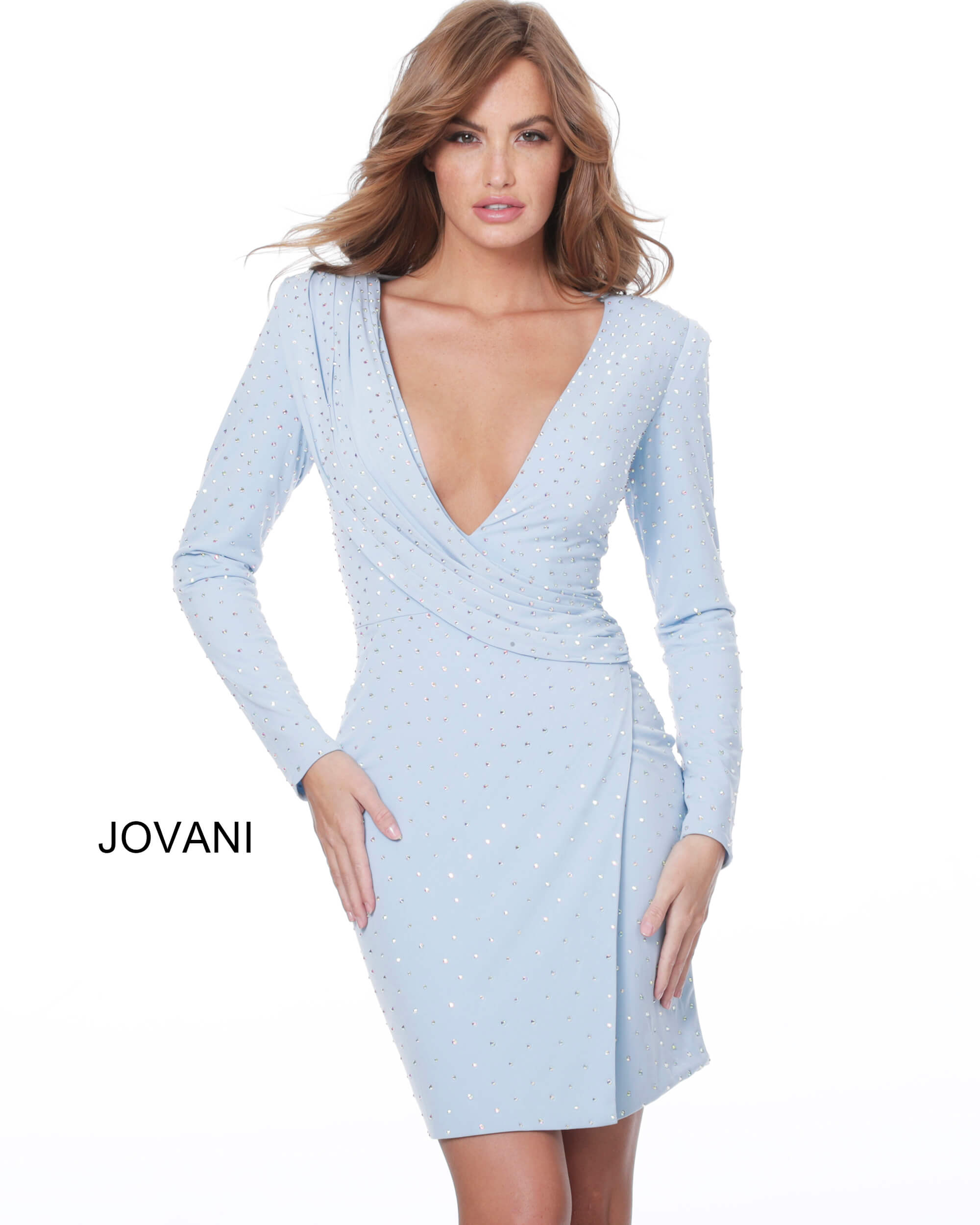 jovani Jovani 04015 Light Blue Long Sleeve Draped Cocktail Dress on mobile 6