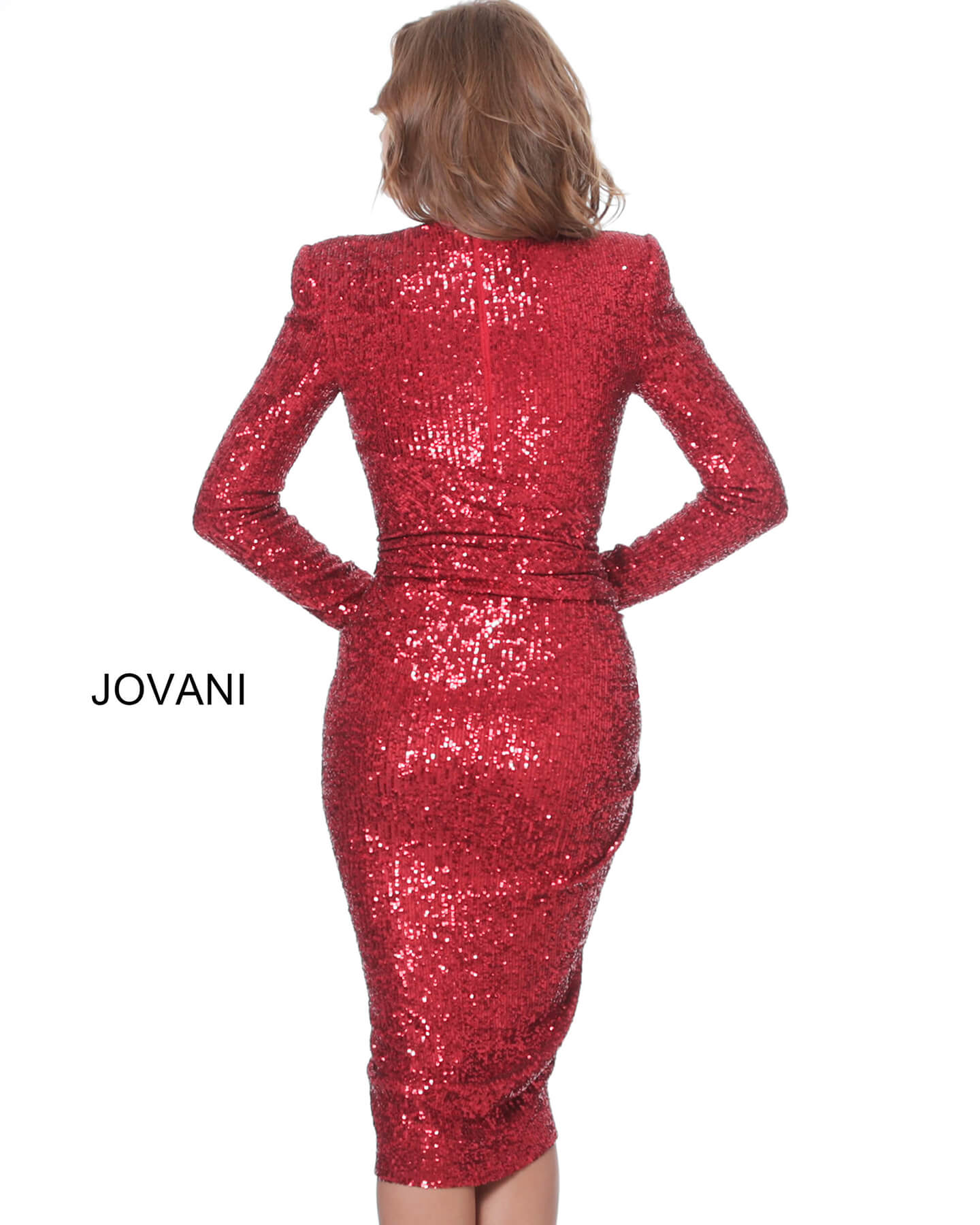 Red close back sequin cocktail dress 0425704257 on mobile 2