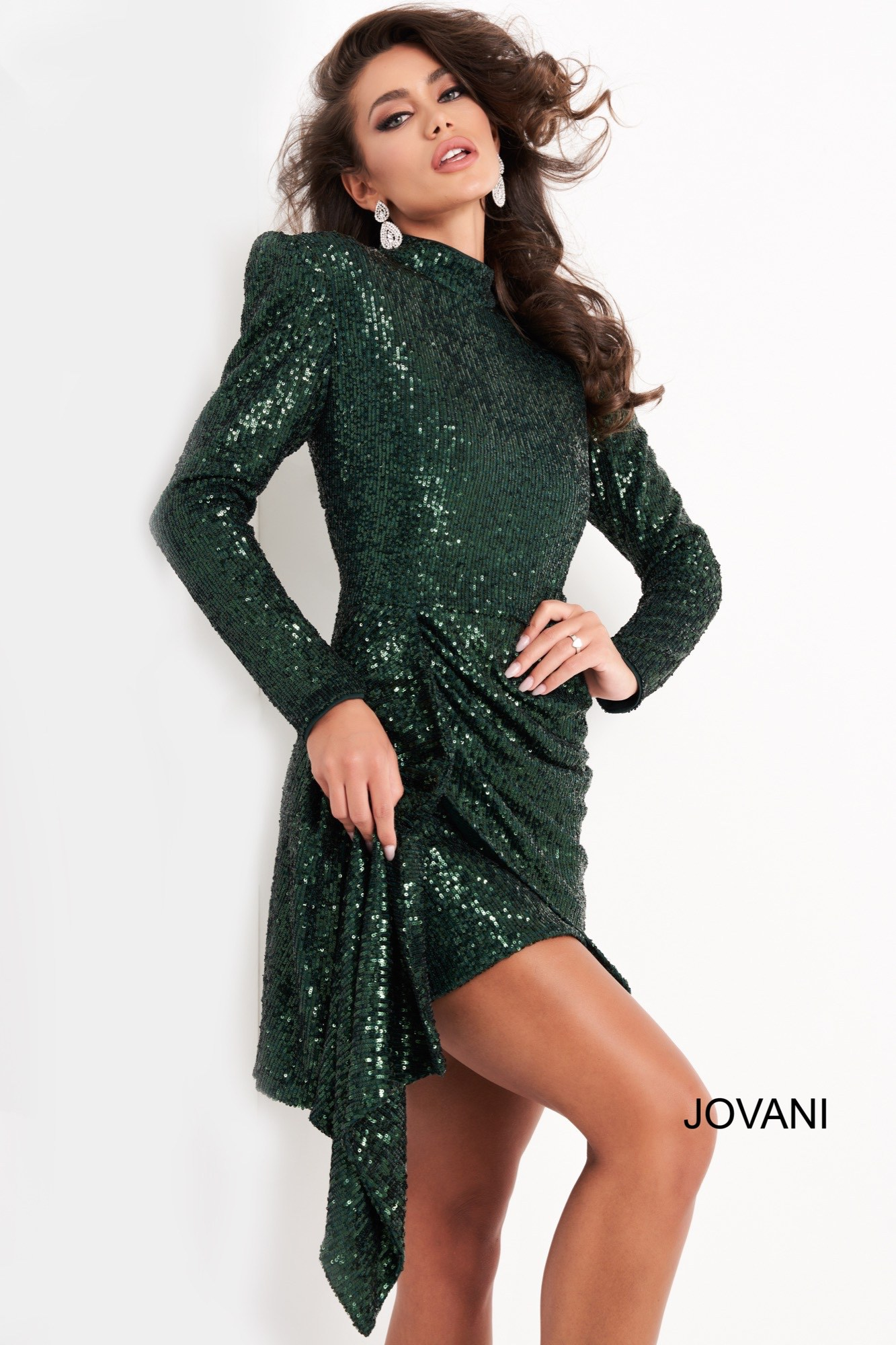 jovani Jovani 04270 Green Long Sleeve Sequin Cocktail Dress  on mobile 1