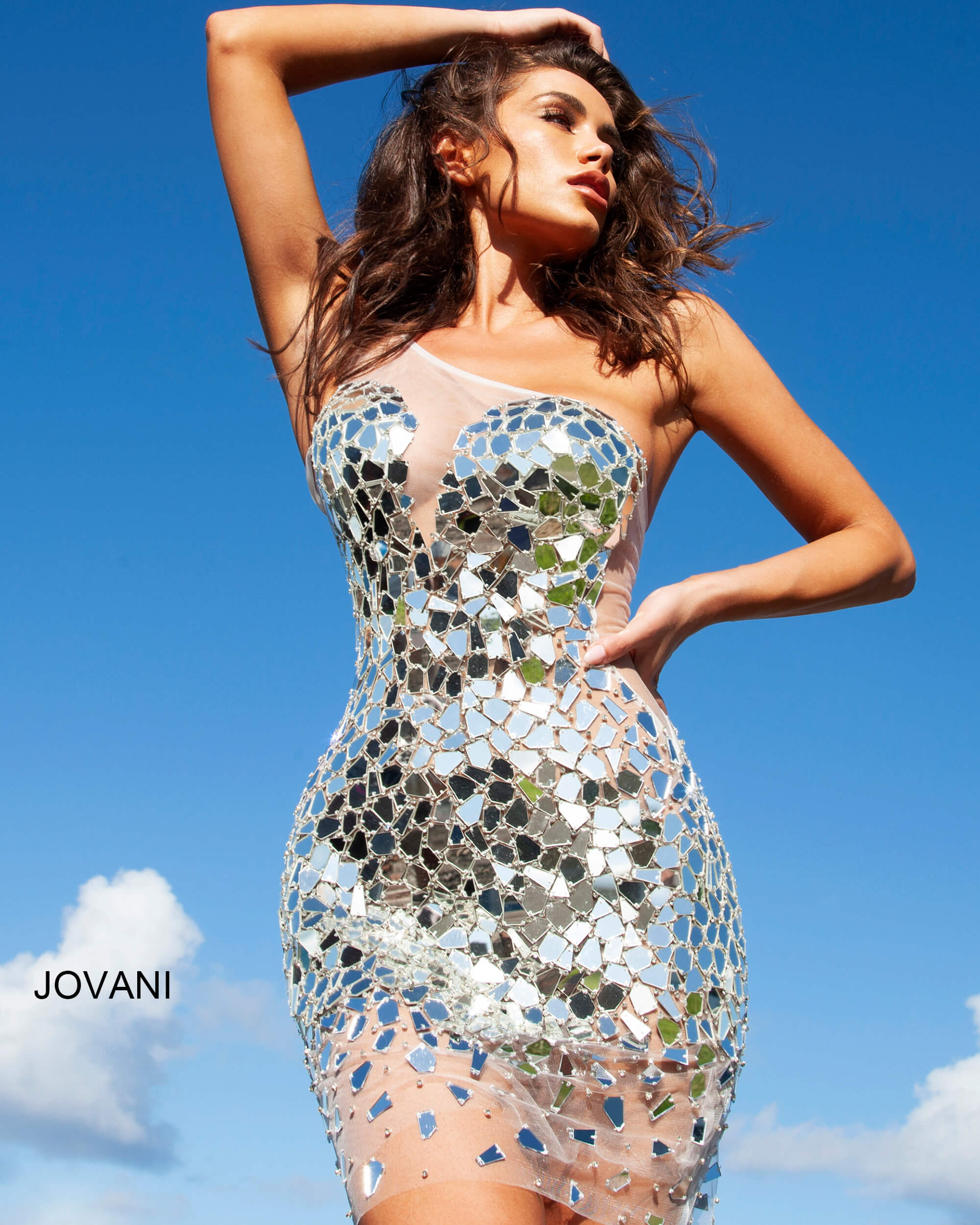 jovani Jovani 04888 One Shoulder Embellished Cocktail Dress