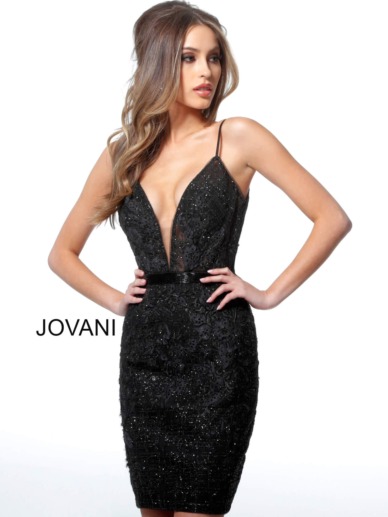 Jovani black fitted plunging neckline cocktail dress 1106