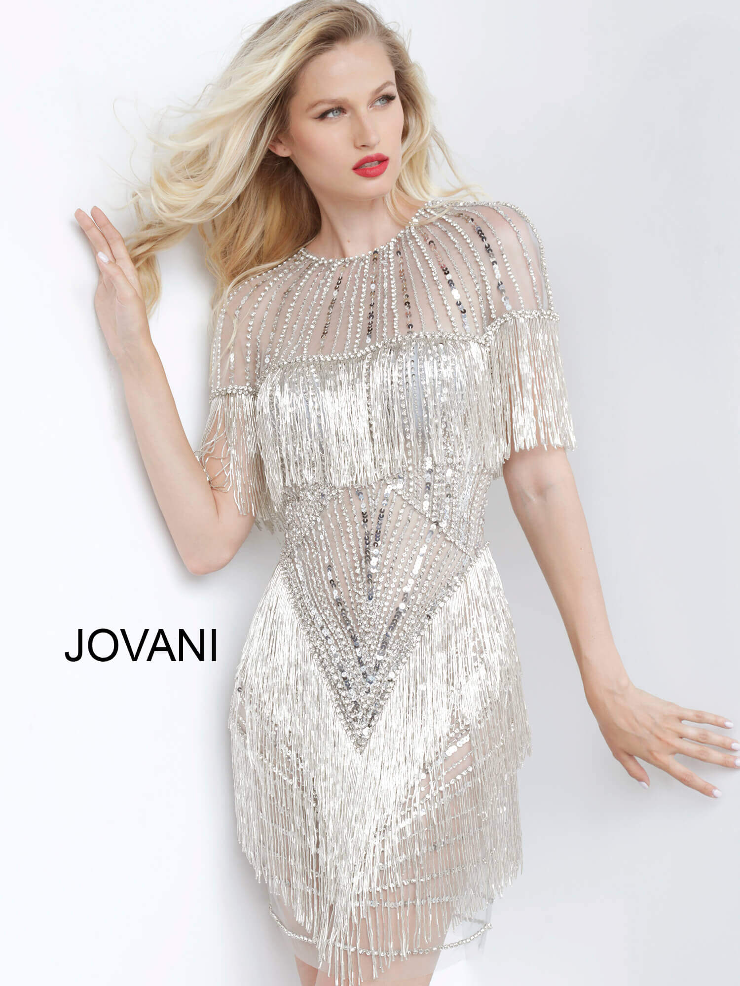 Jovani 11999 Grey Silver Sheer Neckline Embellished Short Dress