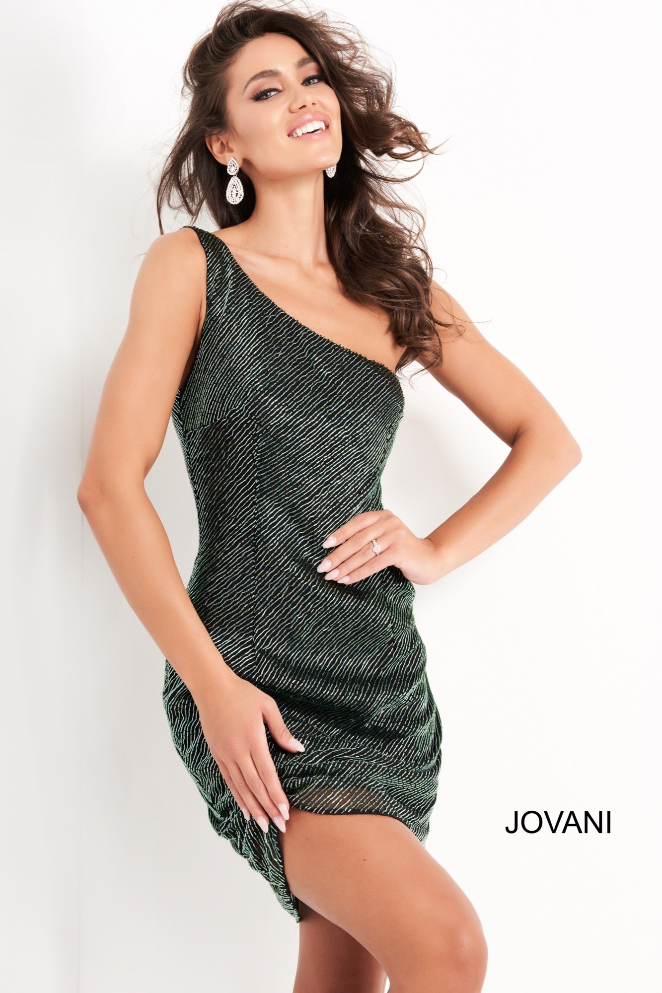 Jovani 1247 One Shoulder Beaded Short Dress