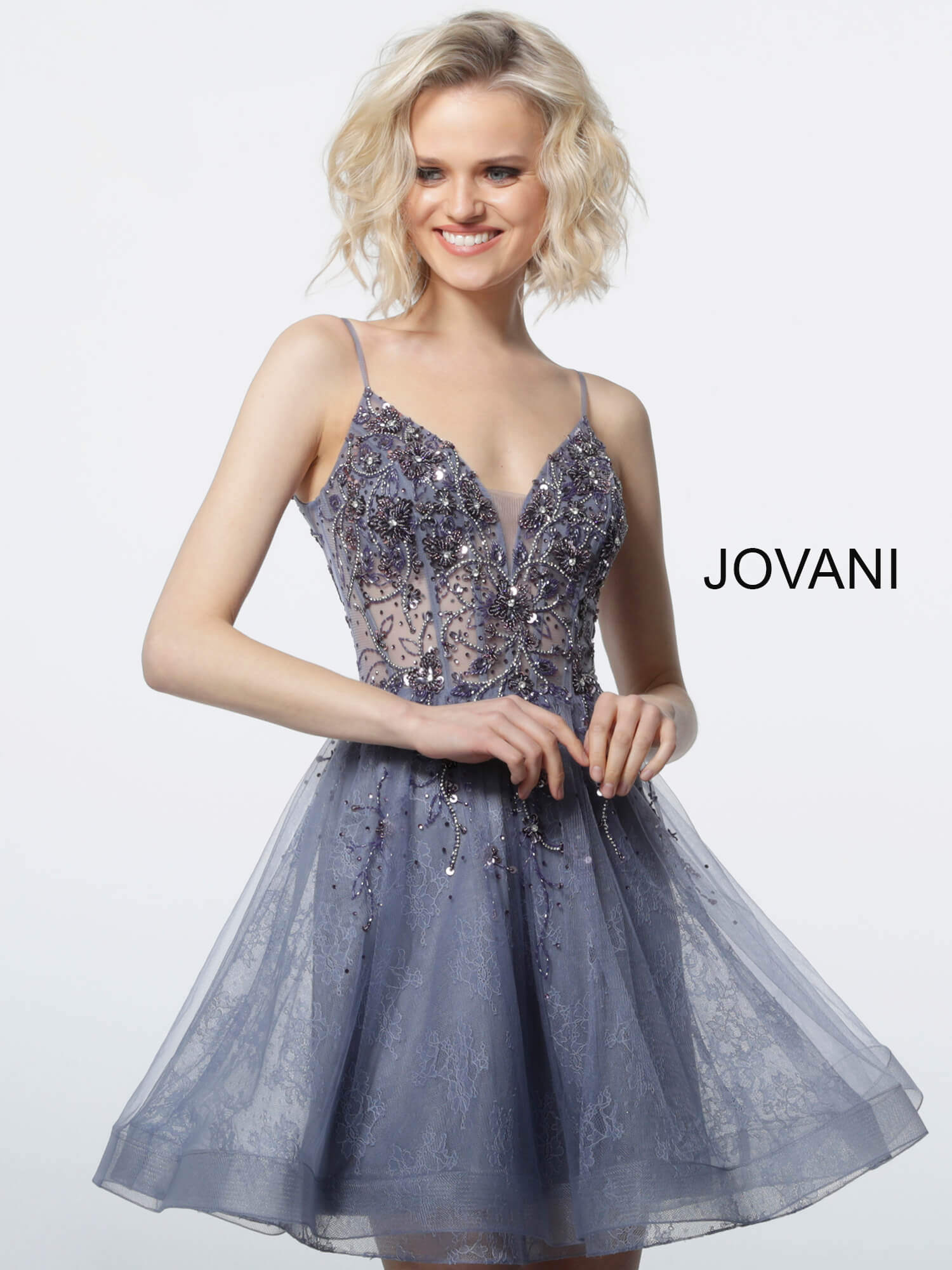 jovani Grey Purple Fit and Flare Embellished Cocktail Dress 2527