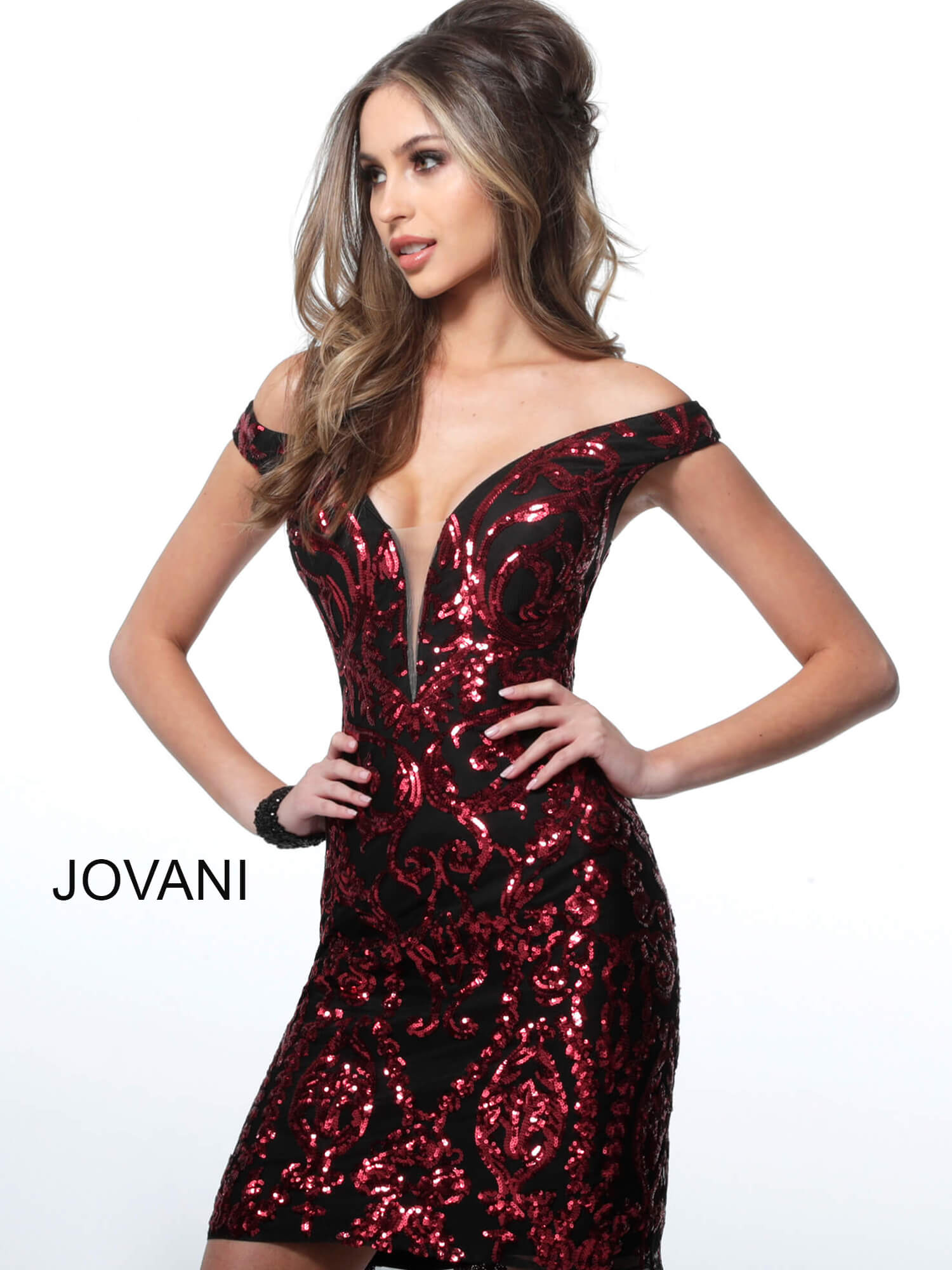 jovani Jovani 2666 Black Red Off the Shoulder Embellished Short Dress