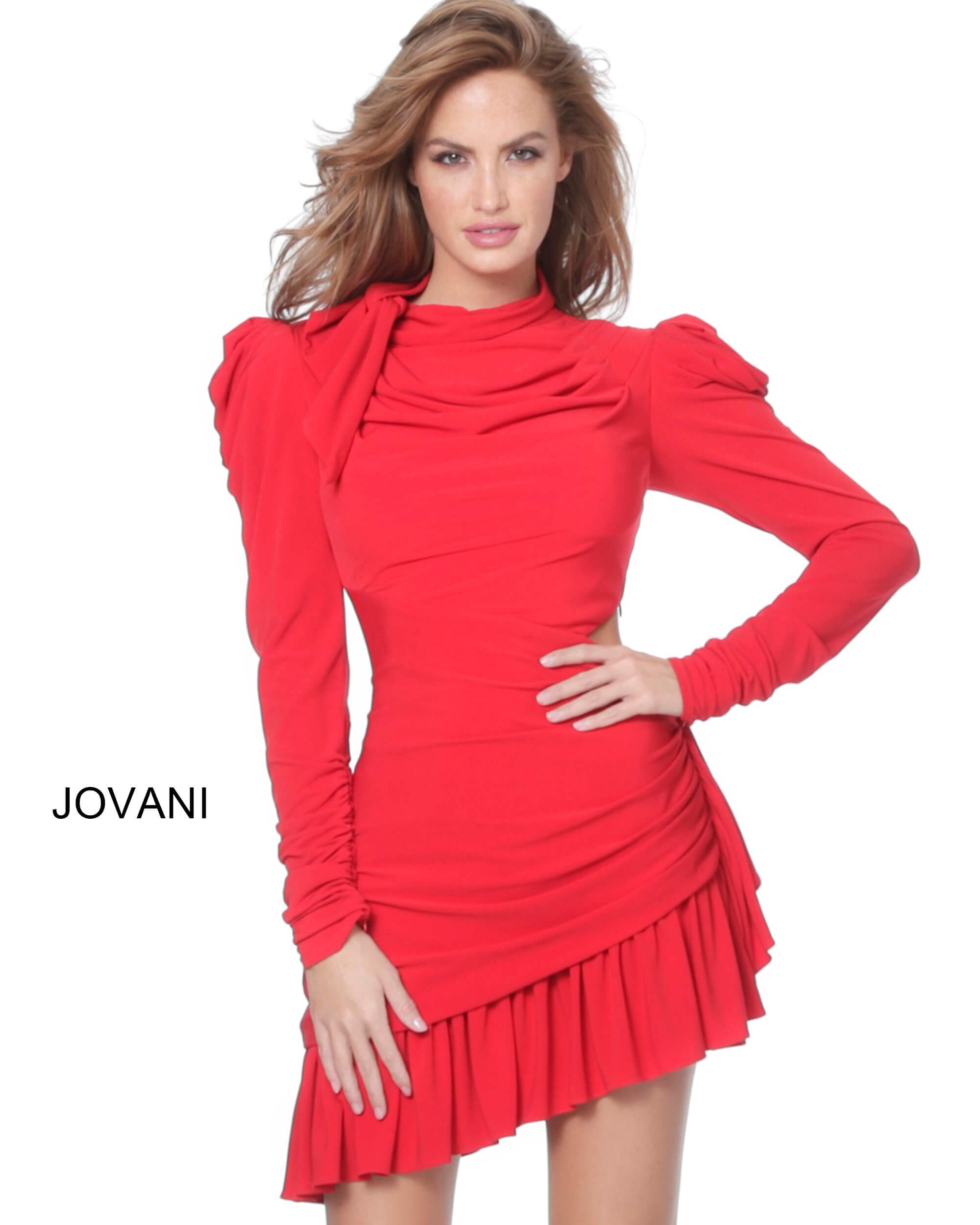 jovani Jovani 3076 Red High Neck Puff Sleeve Short Dress on mobile 1