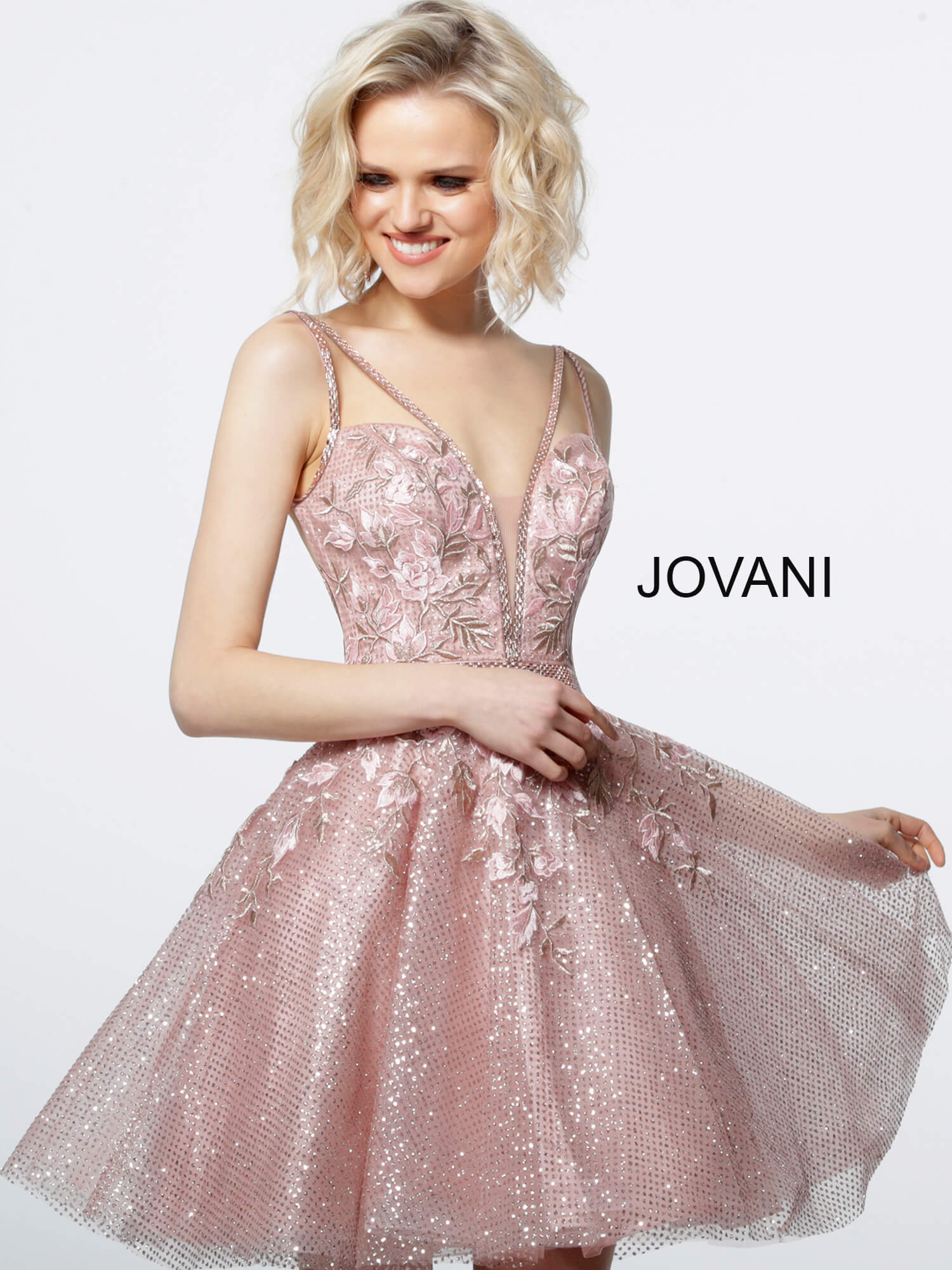 jovani Jovani 3654 Blush Plunging Neck Fit and Flare Cocktail Dress  on mobile 1