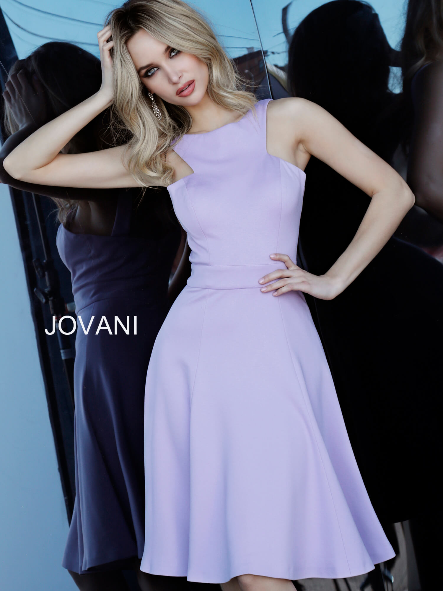 jovani Jovani 48996 Lilac Fit and Flare Sleeveless Cocktail Dress  on mobile 1