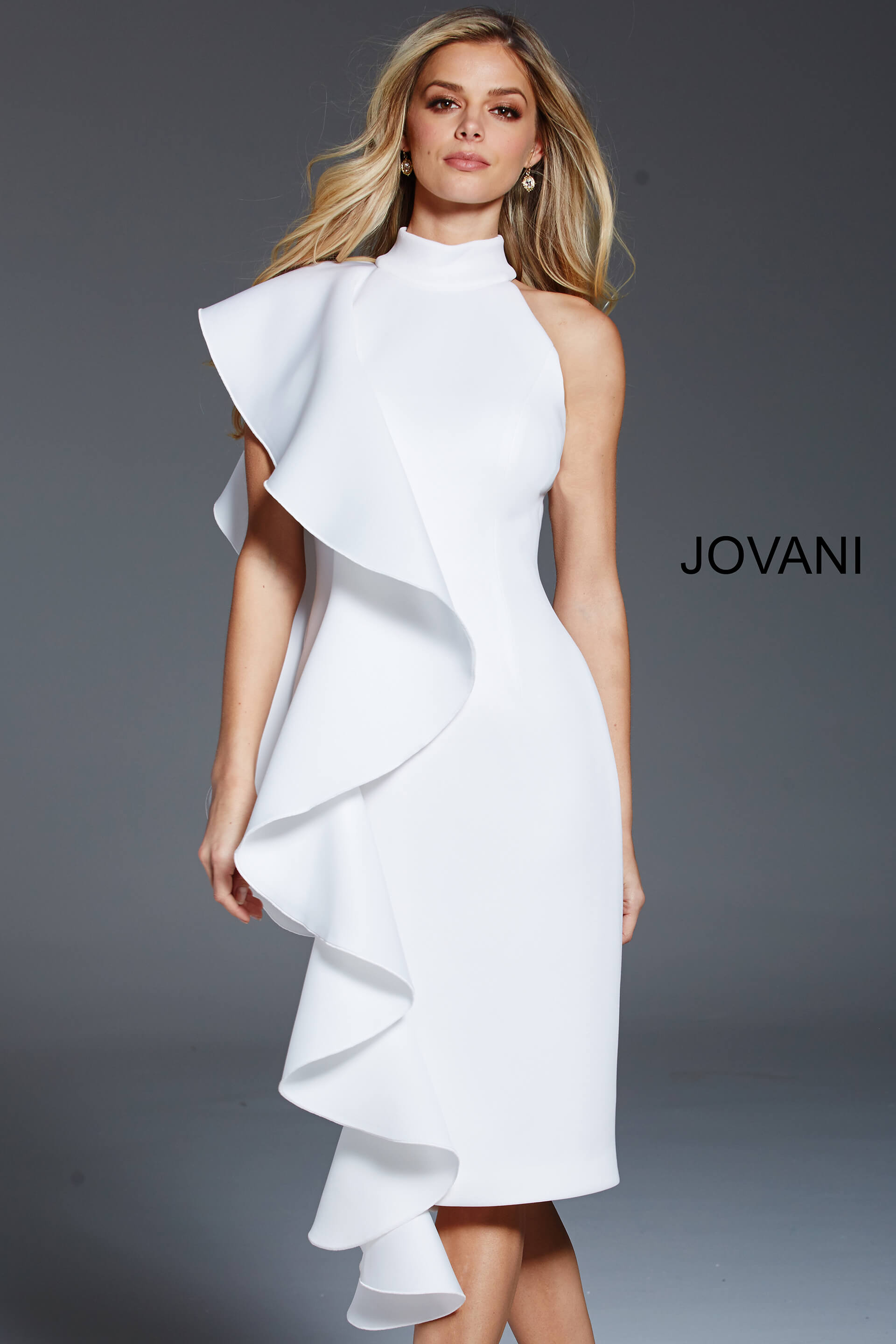 jovani Knee Length High Neckline Ivory Scuba Formal Dress 60297
