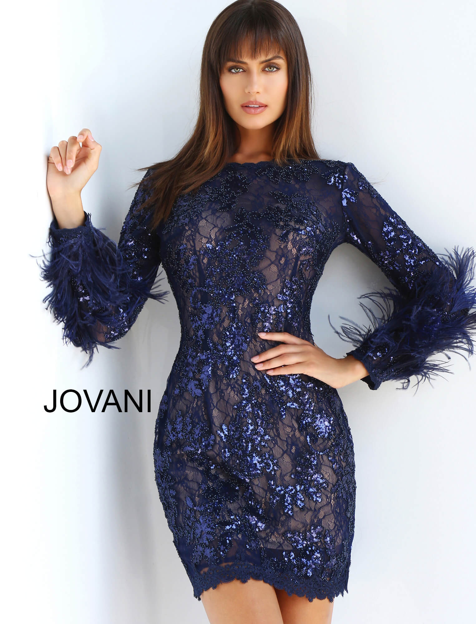 jovani Navy Long Sleeve Embellished Cocktail Dress 63351
