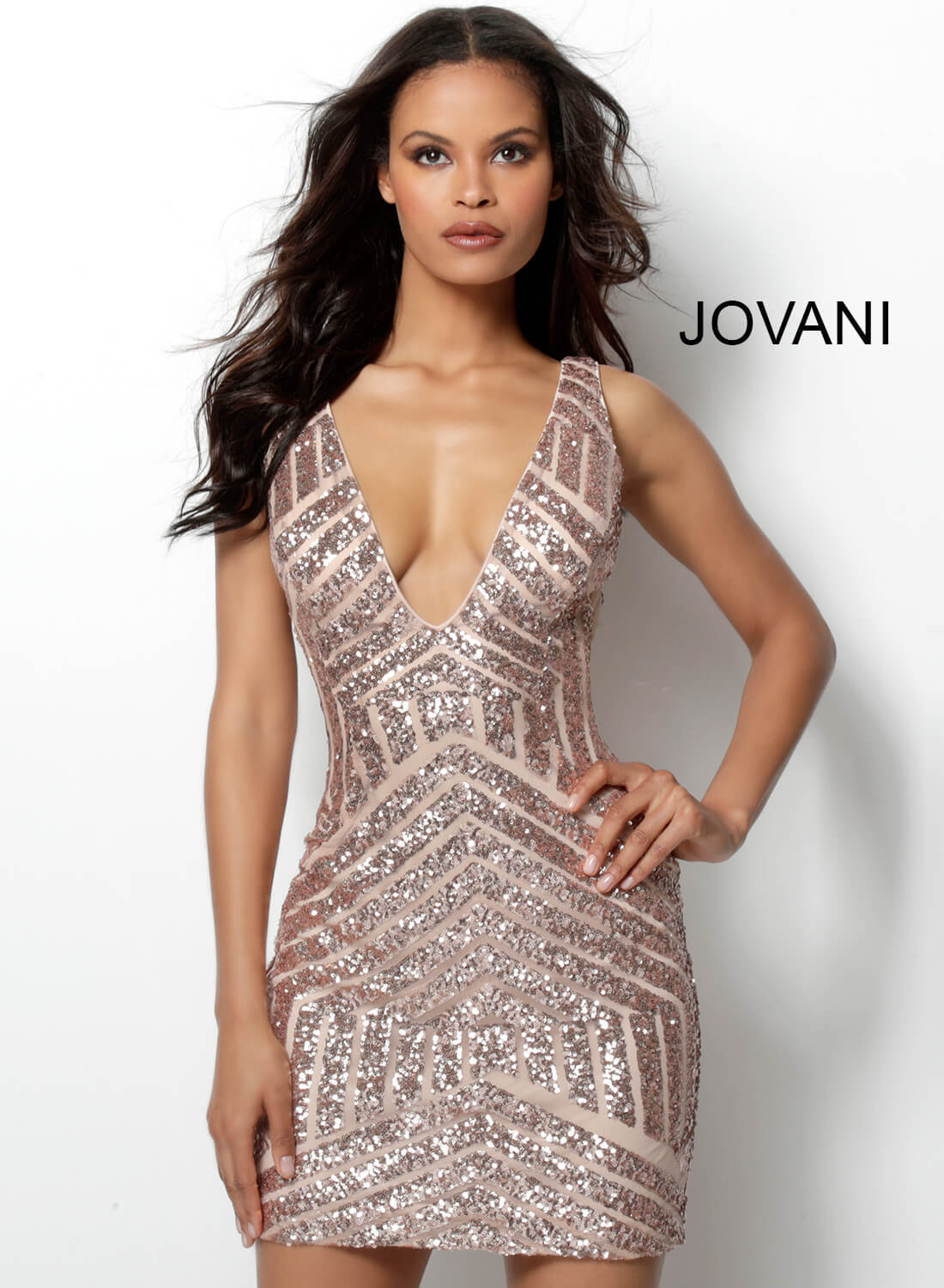 Jovani rose gold plunging neck fitted dress 63899 on mobile 5