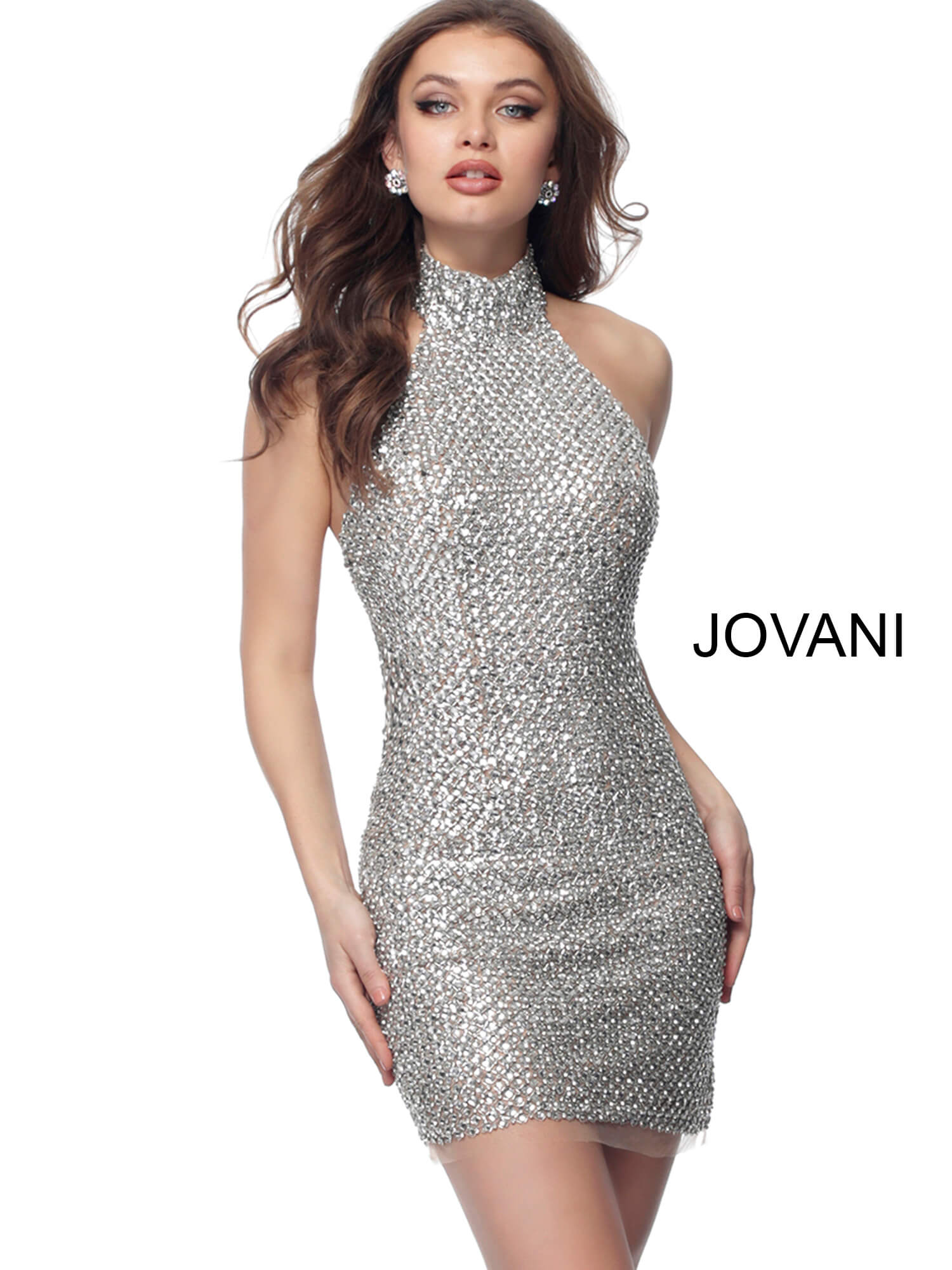 jovani Nude Silver Fully Beaded High Neck Short Dress 66549