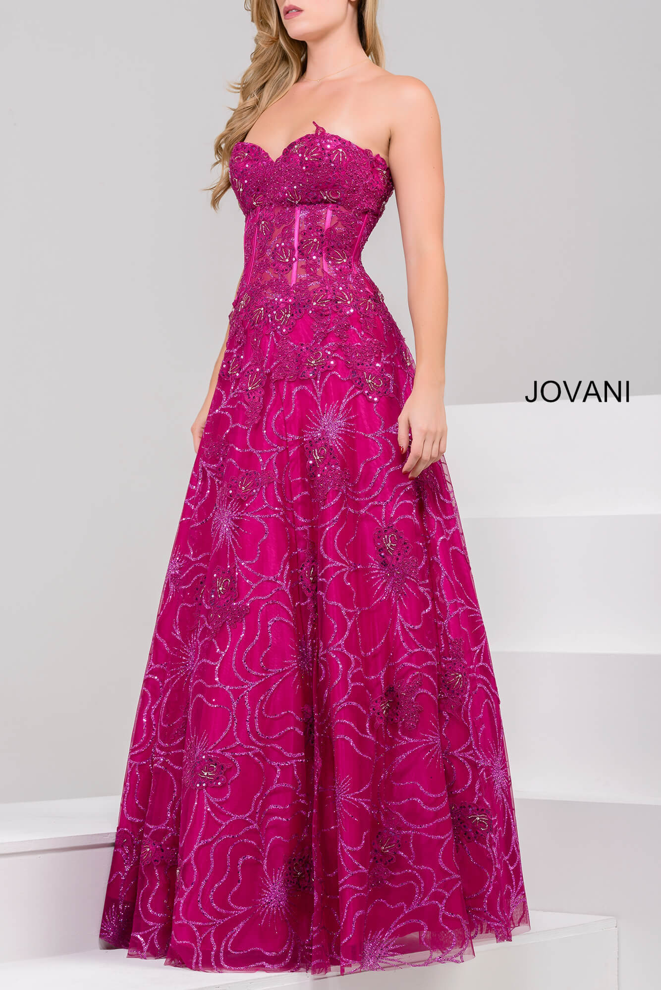 14913 wine glitter embellished prom gown  on mobile 4