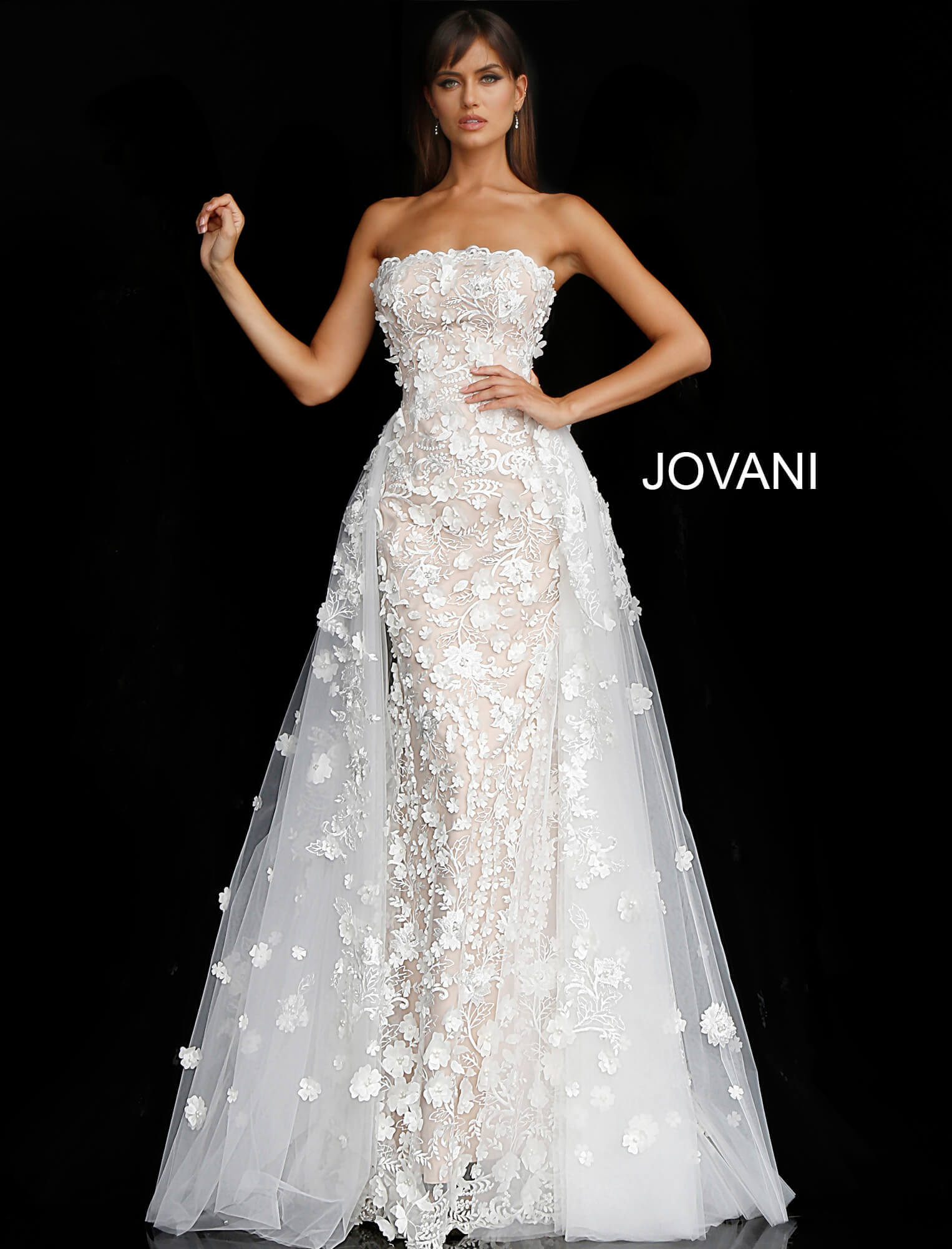 jovani Off White Nude Floral Appliques Strapless Wedding Gown 55616