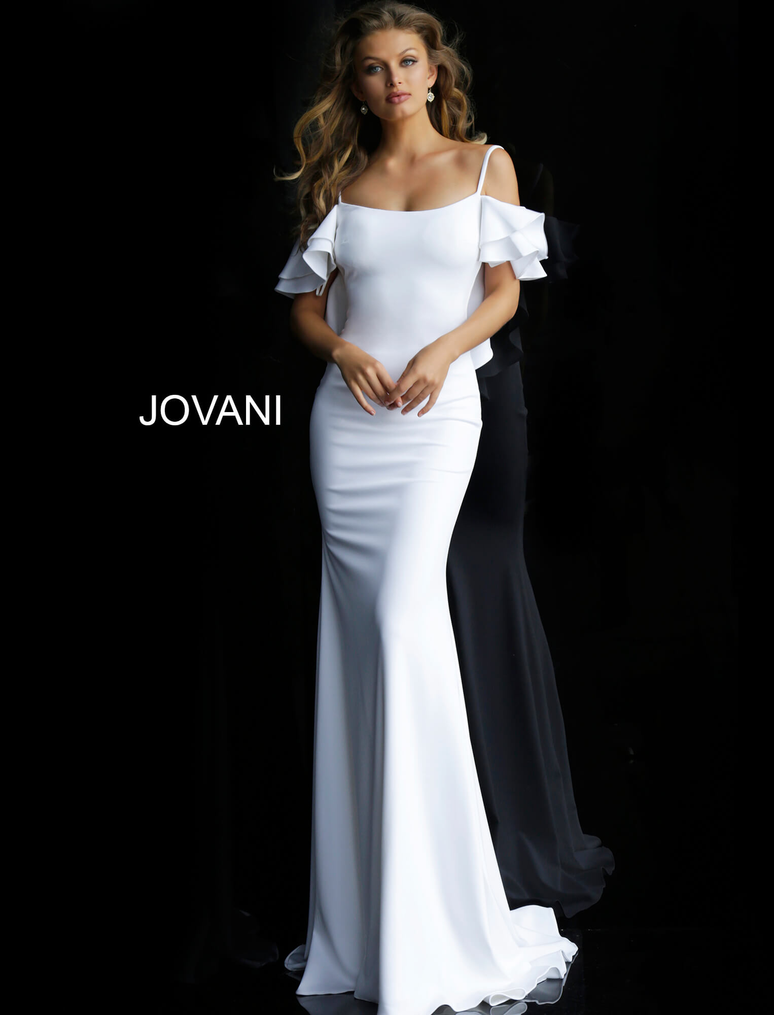 Jovani 59248 Off White Fitted Off The Shoulder Dress