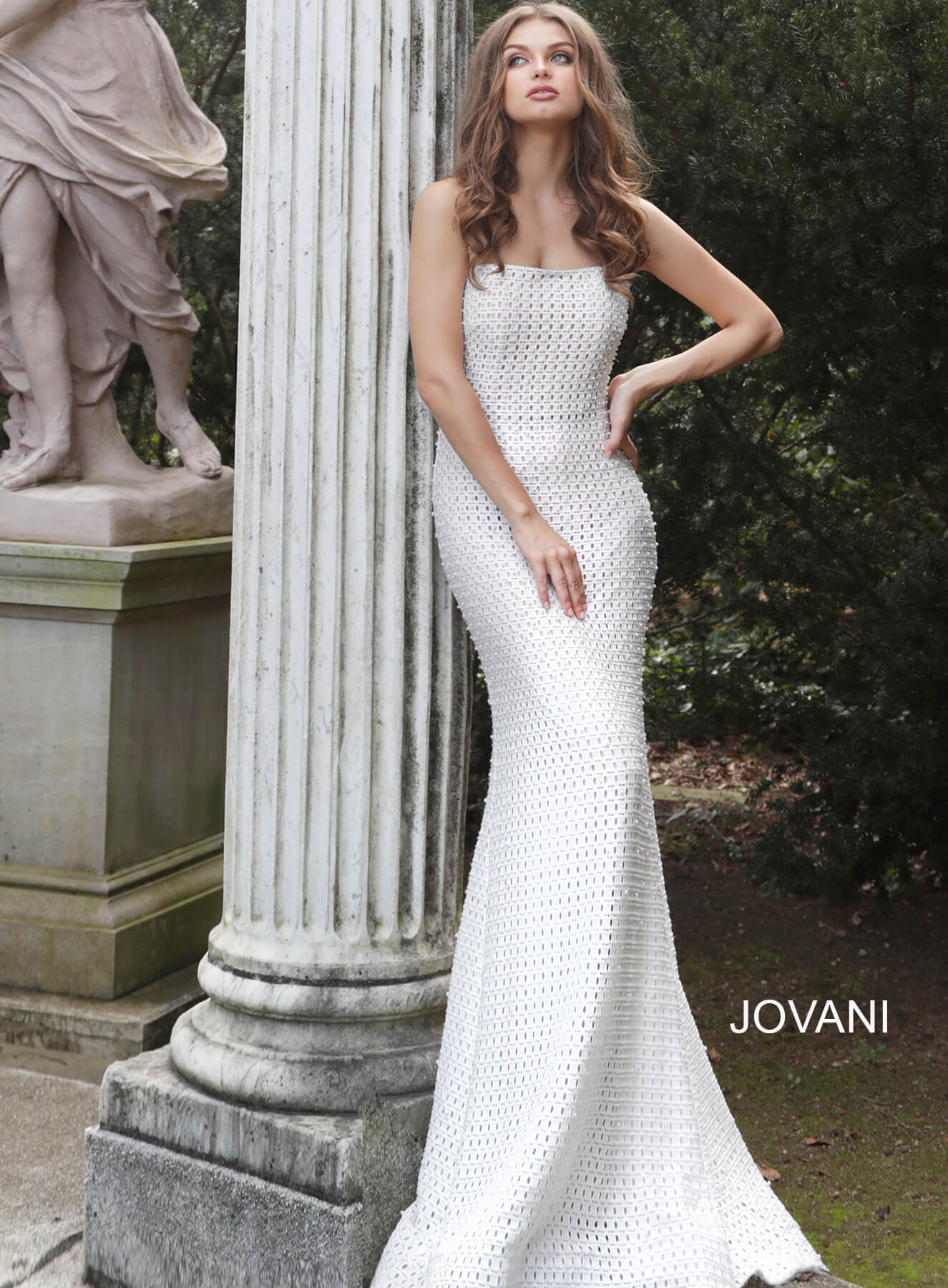 jovani Jovani 63393 Ivory Nude Strapless Wedding Dress