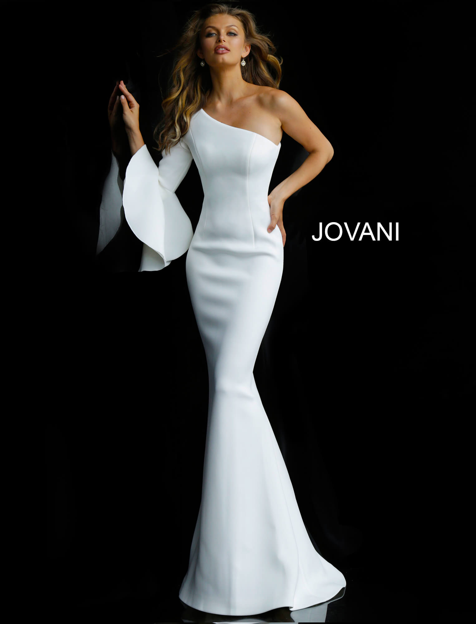 Wedding Gowns With Sleeves.White One Shoulder Long Sleeve Wedding Dress 66821