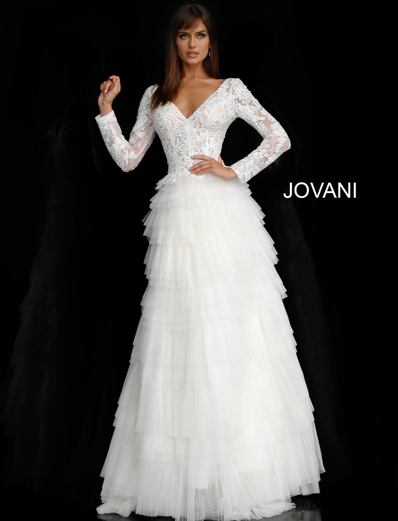 Off White Lace Long Sleeve Bodice Bridal Dress JB65932 on mobile 0